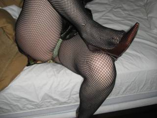 inebriated wife after halloween party in stiletto heels and thong, teasing