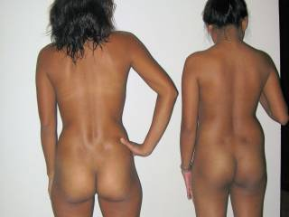 What fabulous bottoms they both have. I'd love to see them both bent over.