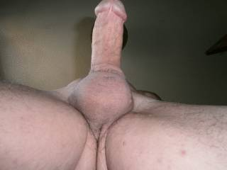 underneath shot of my shaved cock and balls
