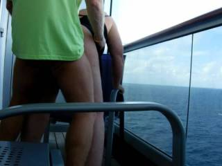 Fucking Mrs McLovin doggy style on a cruise ship balcony.  Who wants to come with us next time?