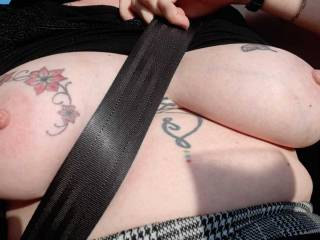 The return journey after a breakfast, Sally loves to expose her tits as we drive along.  SO many people see her and hardly realise..