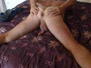 would be a real pleasure to slide my cock inside that very inviting arsehole mmm would Mrs hold my cock and guide my head inside you? How horny would that be for all three? mmmmm