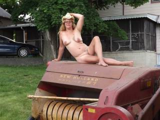 Heck yessssssssss then bend her over one of those bails and plow deep!  WoW such a hot sexy woman!