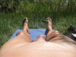 I\'m smooth and love to lay out by the lake.  This pic is of me and my limp cock.