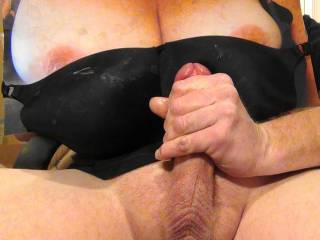 Jerking my hard cock to Sweet T\'s tasty tits and about to  cum on GF\'s black bra tribute request! Her reward for the cock tribute pics she sent me!