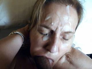 Hubby loves it when I keep going even after he covers my face with cum!