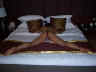 Wife wanted to make this for one of our most favorite couples on ZOIG Don & Marry, made this in a China hotel hope you like.  Wife, what would anyone like to do to me in this position?