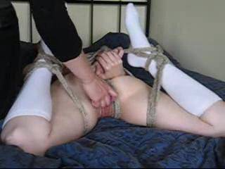 The hot little slut loved being tied up and couldn\'t get enough... Watch Mrs E give her hairy pussy a go. :)