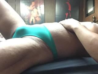 Green bikini bulge