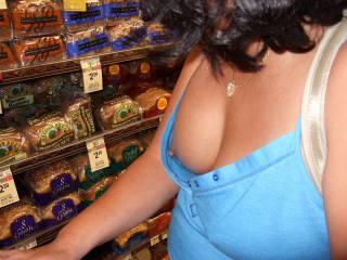 wardrobe malfunction displaying right tit while shopping