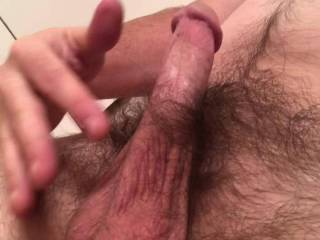 Teasing my cock and playing with my balls