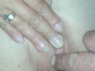 rubbing pre-cum over her clit i we licked each other after and kissed to swap both juices couldnt film any more we where to horny i ended up cumming all over her smooth pusssy