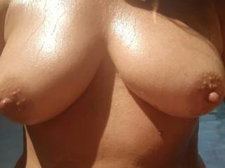 WOW! Great tits! I'd love to cover your amazing and perfect tits with some of my very own fresh squeezed lotion! You'll have to help me pump it out!