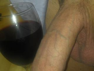 Ladies, is this a winning combo? A little red wine to get the heat and sexual energy flowing, and a big, thick, long white cock to suck on until I can\'t stand not being in your pussy any longer.