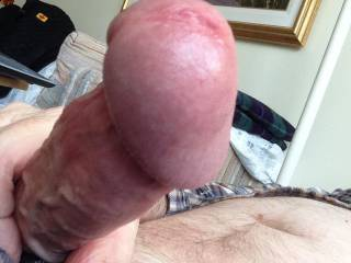 My cockhead's swollen and just starting to leak precum.  Would someone give me a hand or a set if lips to finish up?