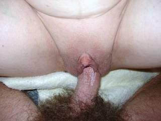 Great shot of that nice, thick cock fucking her beautiful pussy.