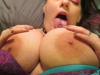 Mmmm, I'd love to lick, tongue-tease and finger squeeze your nipples before I massage and spank my hard cock swollen tip over them until I make them slippery with my pre-cum ...then I'd massage my pre-cum between your tits and pump my stiff shaft between them until I squirt fountains of hot jizz into your mouth  }:)