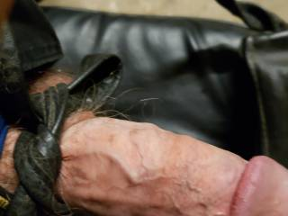 My leather tied cock