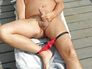 tanning and jerking off outdoor..again   hope my neighbor/s are watch me  cuz I\'m putting on a great JO SHOW