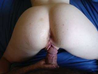 My fat cock about to stuff her burning pussy afer her ass has been thoroughly creamed with a few loads.