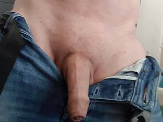 Just my uncut dick hanging out my jeans.