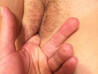 He\'s getting my pussy moist so he can put his hard cock in.do you want to see his cock in me?