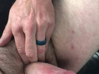 Horny in the car again, watching porn and jacking off