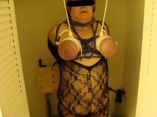 tits suspended while tied tight
