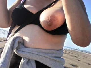 Tit out walking on the beach