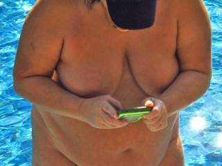 Lesley my slut wife is getting out of the pool