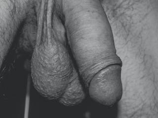 Mmmmm, I like that hanging cock and those big heavy balls.  Want me to lighten them some? Mrs. K