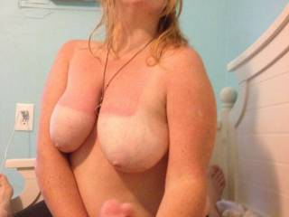 Love your boobs, they are beautiful, i would love my cock in your other hand ??. xxxxx,s.