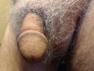 A close up of my old soft cock