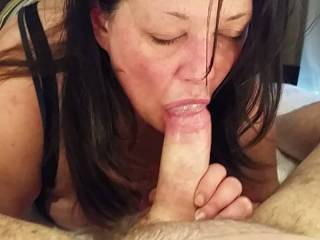 A blowjob from start with a limp dick to ball licking, sucking, and a cum swallowing finale then a loving glance at the just finished cumming hard penis.