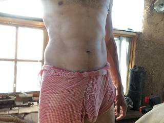 I walk around outside my house like this in the summer. If you stopped by, would you make me put some pants on or comment that you can see my dick growing?