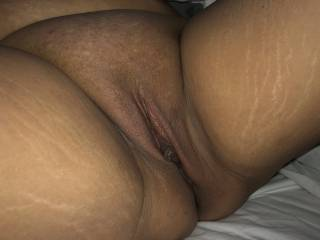 Inviting him to taste her clean shaved pussy