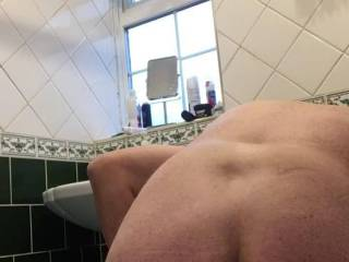 Having good time with 7 inches butt plug