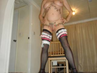 hi all  just me showing my garters  dirty comments welcome mature couple