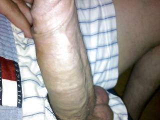 Beautiful cock my wife would love to help you out with that fine specimen !....