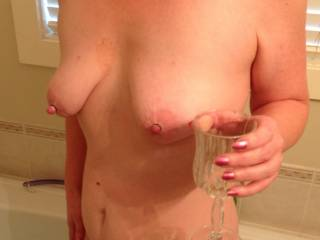 Little bit of wine and some nipple rings , this isn\'t to bad !