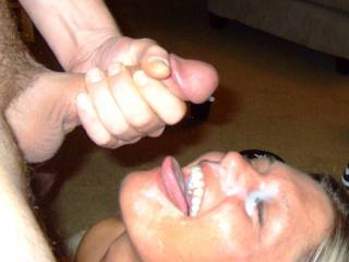 M gets her reward for being a great cock sucker! She loves a mans cum and I LOVE giving it to her!