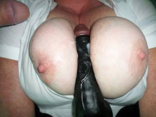 He Loves me playing with my Black Dildo he shot his cum all over my tits