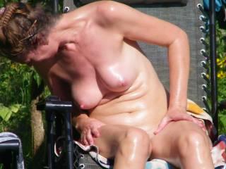 nude women sunbath