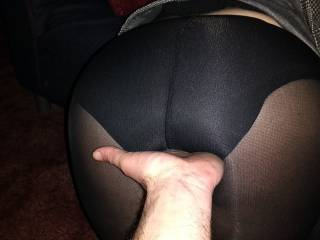 I can feel how hot her pussy is through her tights.