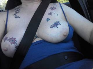 We are out and so are Sally\'s tits. Fresh air even in the car.