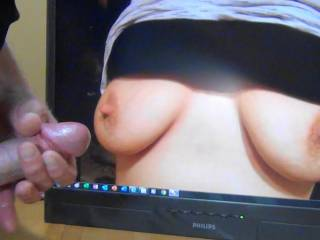 Jacking off my hard cock to sexycouple36\'s perfect tits! Wish I was rubbing my throbbing cumming cock all over her tasty nipples!