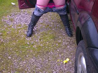 Out for a drive and the Mrs (horny as hell as usual) wanted to stop so being the good husband I am I did and she was straight out of the car and unveiling first her big tits then her gorgeous smooth pussy. What would you like to happen next ???