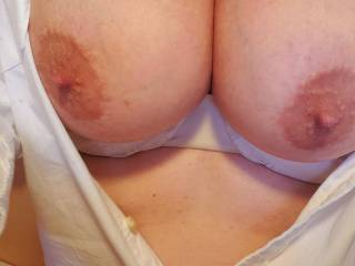 She was horny at work and wanted me to know. Those tits are even better in real life. So firm and round...!