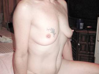 He put me onto my knees & elbows to give my ass a nice long finger fucking before slipping his hard cock inside with them. He fucked me nice and hard until we both got off, then took this pic as we heard my ol man pulling into the driveway.