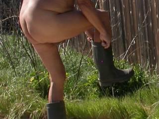 Getting ready to work in backyard.